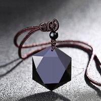 Necklace Black Obsidian Stone Pendant Women Men Jewelry Sweater Chain Ornaments