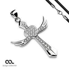 Anhänger Kreuz Flügel Herz Edelstahl Halskette Zirkonia Kristalle Lederkette