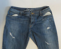 Womens INC Denim Blue Jeans Distressed Straight Leg Size 6 33 x 30