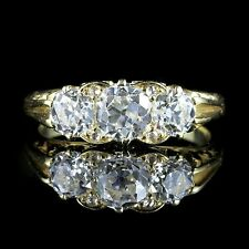 Antique victorian diamond ring 2CT trilogie circa 1880