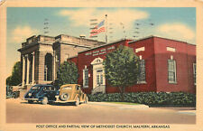 MALVERN, ARKANSAS - POST OFFICE & METHODIST CHURCH 1950 LINEN POSTCARD VIEW