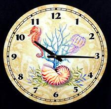 "Sea Life~Tropical Nautical Weathered Style Wood 15"" Wall Clock~Shells,Coral,Fish"