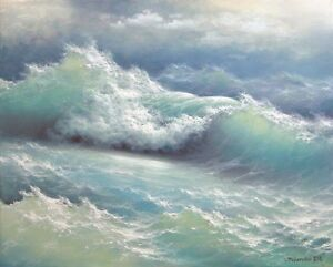 "355- 16""x 20"" GALLERY WRAP CANVAS ART PRINT SEASCAPE Storm Wave Atlantic Ocean"