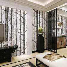 Forest Nonwoven Wallpaper Birch Tree Rustic Modern Black White Roll Wall Sticker