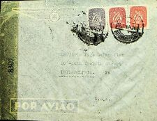 PORTUGAL 1944 3v SHIP ON AIRMAIL CENSORED COVER FROM LISBON TO USA