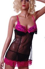 Womens Pink Black Lingerie Gown Babydoll Valentines Day Dress Outfit Sheer L NEW