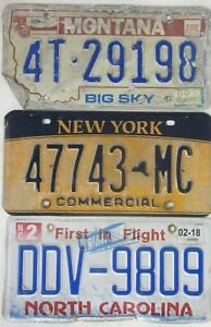 3 ROAD KILL licence/number plates USA NORTH CAROLINA NEW YORK MONTANA Lot B4