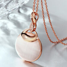 Classic 18K Rose Gold Filled Big Opal Pendant Chain Necklace