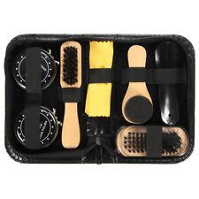Shoe Shine Care Kit Black & Neutral Polish Brush Set for Boots Shoes Sneake P3J6