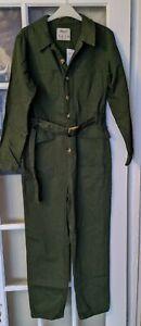 New!! Primark Dark Green Denim Boiler Suit Jumpsuit Size 12