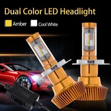 2x Dual Color H4 9003 LED Headlight Switchback LED Bulbs 90W 9600LM 6000K 3000K