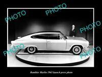 OLD LARGE HISTORIC PHOTO OF 1965 RAMBLER MARLIN LAUNCH PRESS PHOTO 1
