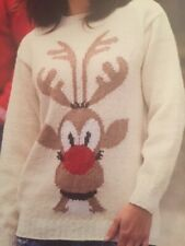 XF002 KNITTING PATTERN FAMILY CHRISTMAS RUDOLPH SWEATER SIZE 30 TO 48 INS