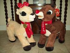 "NWT DANDEE SET BIG 20"" CLARICE + RUDOLPH RED NOSED REINDEER PLUSH STUFFED ANIMAL"
