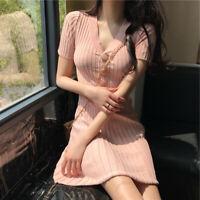Women V Neck Short Sleeve Mini Dress Retro Slim Fit Casual Pleated Dresses Skirt