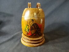 Old Vtg Wood Tobacco Storage Jar Spanish Matador With Bull Design