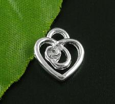20 Pendentifs Breloques Charms Coeur Strass Bijoux Accessoire 13x12mm