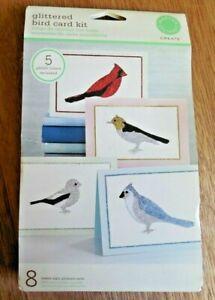 "NEW!  Martha Stewart ""Glittered Bird Card Kit"" w 8 Cards and 5 Glitter Colors"