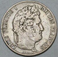 1845-K France 5 Francs Rare Louis Philippe I Silver Bordeaux Coin (19112308R)
