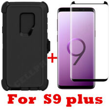 For Samsung Galaxy S9 Plus Case Clip Fits Otterbox Defender W/Tempered Glass BK