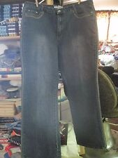 Vintage Woman's ADOLFO sz 22 Green & Taupe Fancy Embroidered Blue Jeans ....#501
