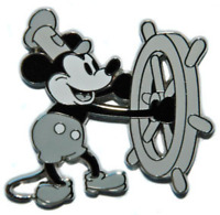 Disney Pin 41782 Mickey Mouse Booster Collection Steamboat Willie Ships Wheel #