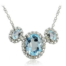 Sterling Silver 3.5ct TGW Blue Topaz and Diamond Three Stone Necklace