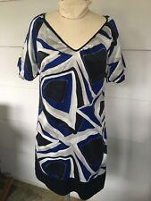 Kenneth Cole Womens Size 8 Silk Dress Blue Geometric Above Knee