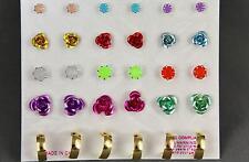 Set Pack of 15 pair flowers hoops plastic crystal bead stud post earrings