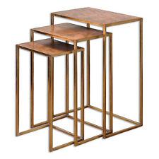 Copper Gold Nesting End Table Set 3   Contemporary Metallic Minimalist Geometric