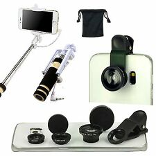 4 PCS Accessory Fish Eye Wide Angle Marco Lens Selfie Monopod For iPhone 4G 4S