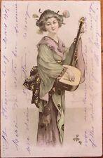 Geisha Girl/Japan/Japanese Woman & Music Instrument 1905 Color Litho Postcard
