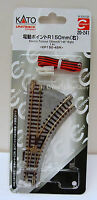 """Kato 20241 N Gauge Unitrack Compact Electric 6""""(150mm)-45 d.Right Turnout (1pc)."""