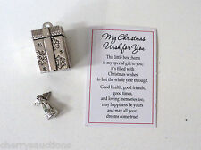 a MY CHRISTMAS WISH FOR YOU Prayer Box Charm present angel pendant good health