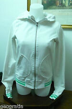 Lululemon White Green Accent Thumb Hole Zip Up Hoodie Jacket Size 6?