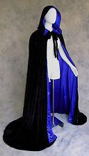 Black Velvet Cloak Lined Blue Cape Men Hooded XL Victorian Ren Capelet Medieval