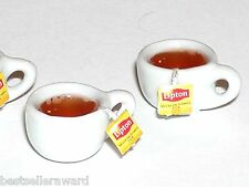 1Pc Miniature dollhouse Coffee Hot Lipton cookie Tea bag cup food charm