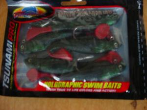 "Tsunami Pro Holographic 4""Swim Baits 6 Pack Model PTM4-9"