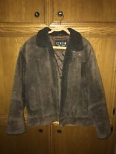 Men's Brown Suede Leather Jacket Coat with Liner Size L