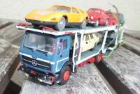 Kibri H0 MB Doppelstock-Autotransporter mit 7 x PKW und Licht gelb/rot, bespielt