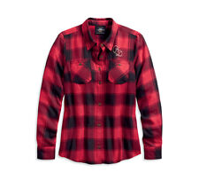 HARLEY-DAVIDSON® WOMEN'S WORLD FAMOUS RED PLAID SHIRT 96168-20VW LARGE
