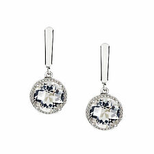 Genuine Natural Quartz/Rock Crystal Solid 925 Sterling Silver Leverback Earrings