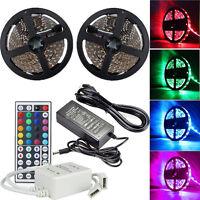 10M RGB 5050 SMD 600 LED Light Strip Flexible+ 44 Key IR Remote+12V Power Supply