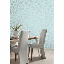 LIVE LAUGH LOVE SCROLL WALLPAPER - TEAL & SILVER - FD40288 - FINE DECOR NEW