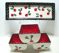 Beautiful Vintage 4pc Ceramic Red & Black Tray & Bowl Set~Cherries & Polka Dots