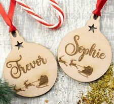 Personalised Christmas Tree Decoration Baby's First Xmas Bauble Wood Santa 2pcs