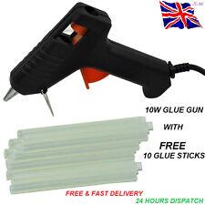 TRIGGER ELECTRIC HOT MELT GLUE GUN PLUS 10 ADHESIVE STICKS FOR HOBBY CRAFT MINI