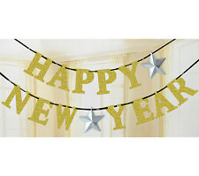 12ft Sparkly Glitter Happy New Year Gold Letter Banner Garland Party Decoration