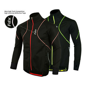 FDX Mens Performance Cycling Jacket Wind stopper Thermal Winter Running Hi viz