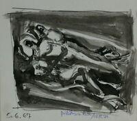 Rudolf Rothe Drei liegende Menschen signiert monogrammiert datiert 1967 Tusche